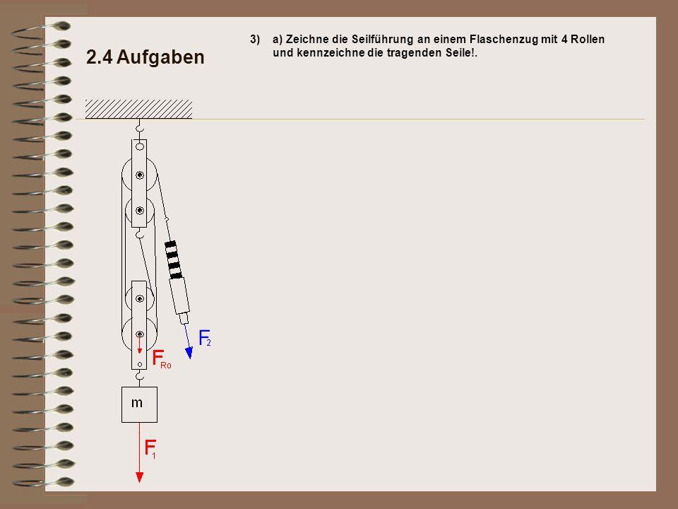 2.4 Aufgaben 3)a) Zeichne die Seilführung an einem Flaschenzug mit 4 Rollen und kennzeichne die tragenden Seile!.