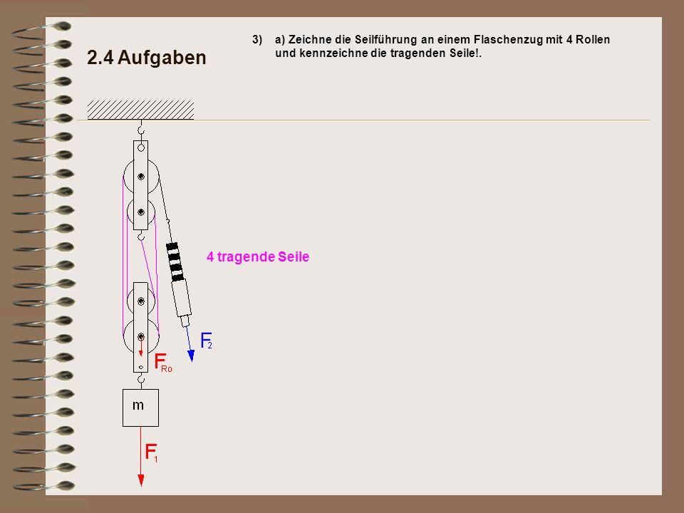 2.4 Aufgaben 3)a) Zeichne die Seilführung an einem Flaschenzug mit 4 Rollen und kennzeichne die tragenden Seile!. 4 tragende Seile