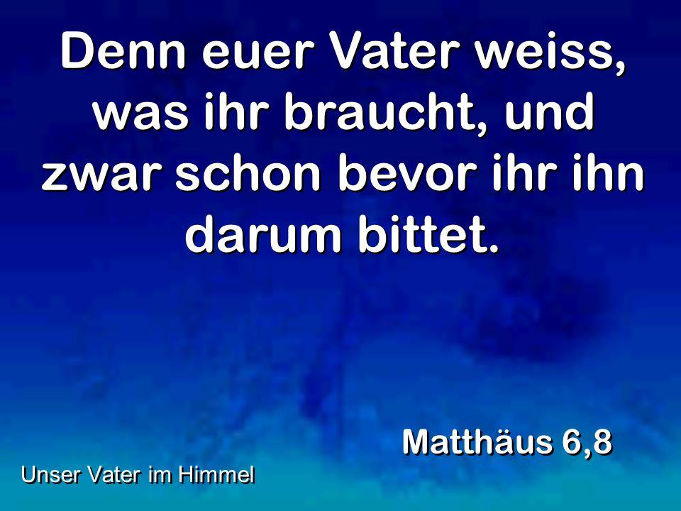 Denn euer Vater weiss, was ihr braucht, und zwar schon bevor ihr ihn darum bittet. Matthäus 6,8 Unser Vater im Himmel