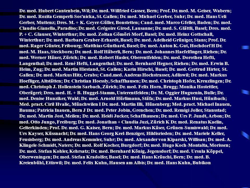 Dr. med. Hubert Gantenbein, Wil; Dr. med. Willfried Gasser, Bern; Prof. Dr. med. M. Geiser, Wabern; Dr. med. Rozita Gemperli-Sos'nicka, St. Gallen; Dr