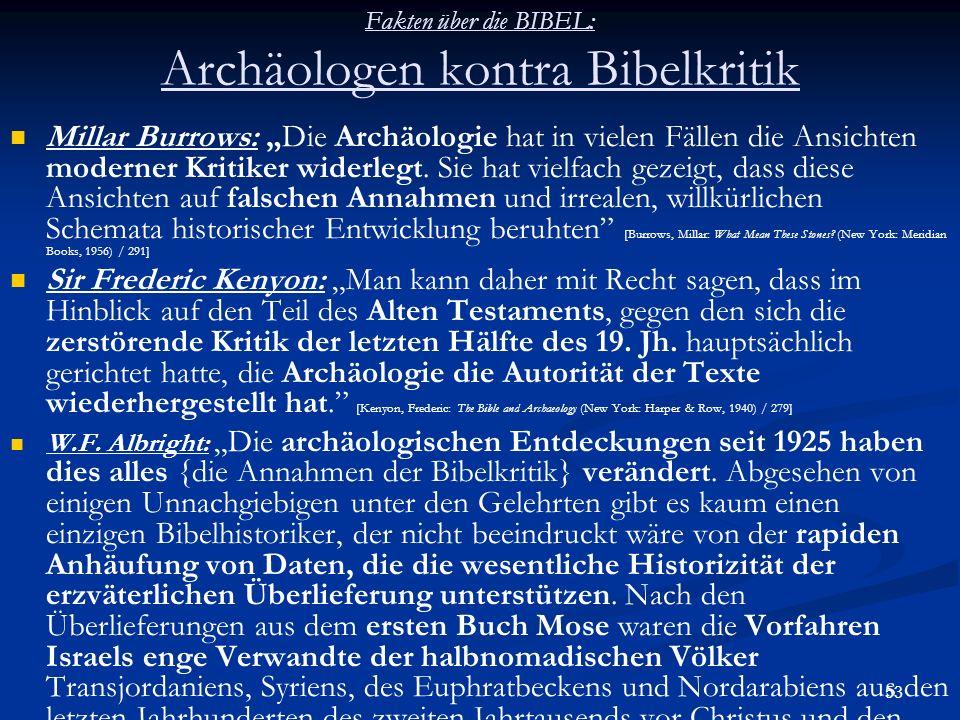 53 Fakten über die BIBEL: Archäologen kontra Bibelkritik Millar Burrows: Die Archäologie hat in vielen Fällen die Ansichten moderner Kritiker widerleg