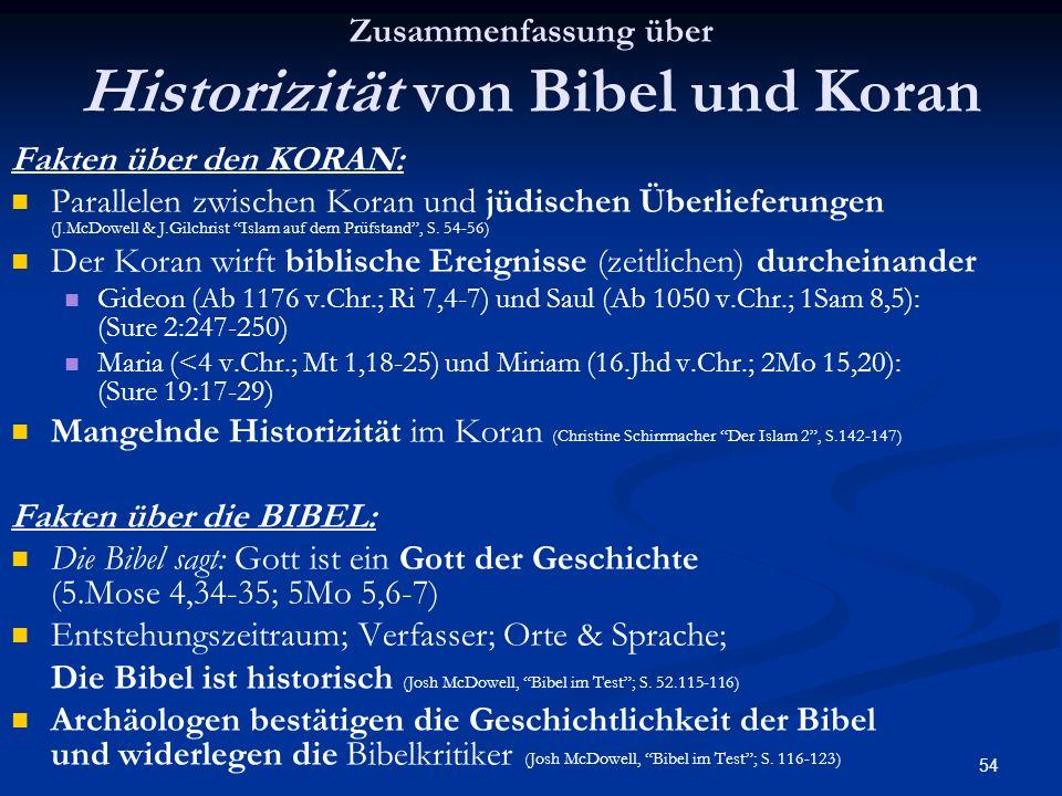 54 Zusammenfassung über Historizität von Bibel und Koran Fakten über den KORAN: Parallelen zwischen Koran und jüdischen Überlieferungen (J.McDowell &