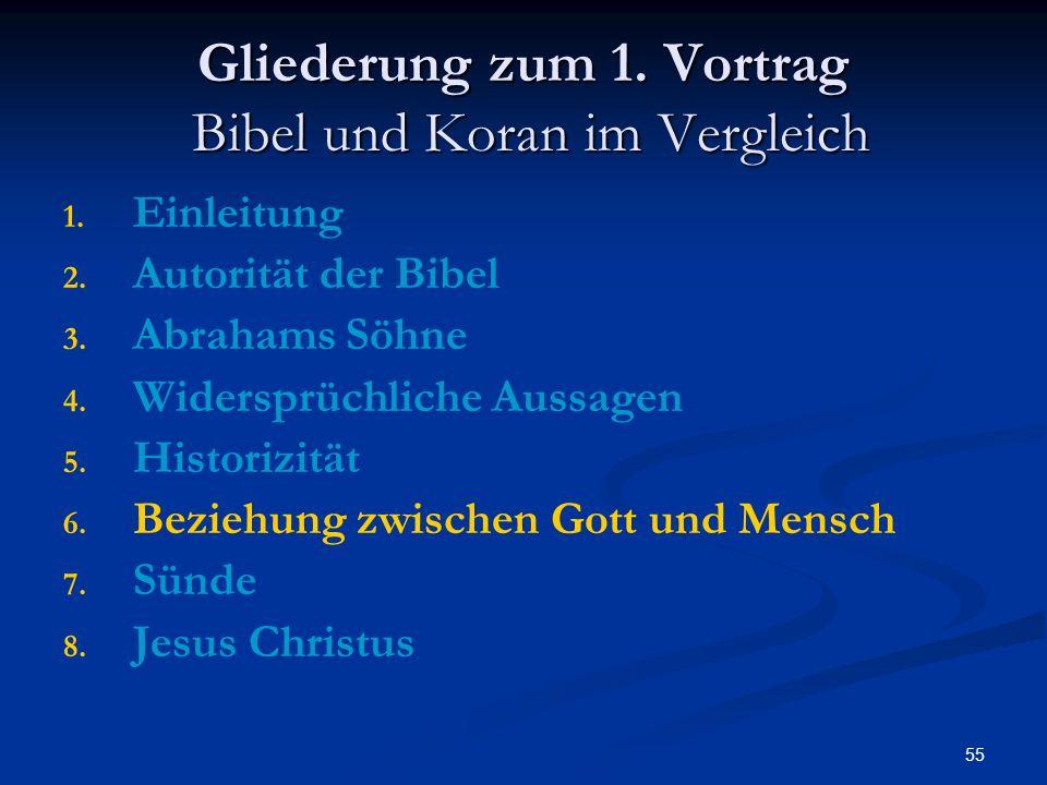 55 Gliederung zum 1. Vortrag Bibel und Koran im Vergleich 1. 1. Einleitung 2. 2. Autorität der Bibel 3. 3. Abrahams Söhne 4. 4. Widersprüchliche Aussa