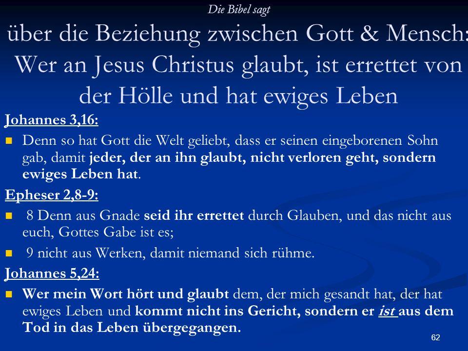 62 Die Bibel sagt über die Beziehung zwischen Gott & Mensch: Wer an Jesus Christus glaubt, ist errettet von der Hölle und hat ewiges Leben Johannes 3,
