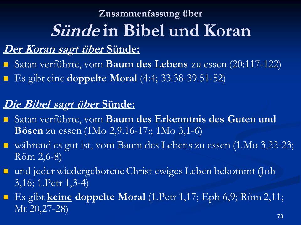 73 Zusammenfassung über Sünde in Bibel und Koran Der Koran sagt über Sünde: Satan verführte, vom Baum des Lebens zu essen (20:117-122) Es gibt eine do