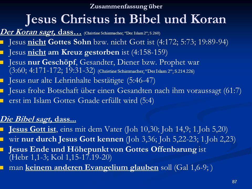 87 Zusammenfassung über Jesus Christus in Bibel und Koran Der Koran sagt, dass… (Christine Schirrmacher; Der Islam 2; S.260) Jesus nicht Gottes Sohn b