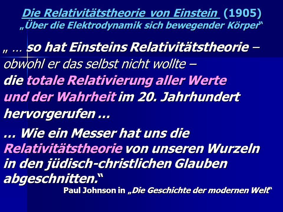 Die Relativitätstheorie von Einstein (1905)Über die Elektrodynamik sich bewegender Körper … so hat Einsteins Relativitätstheorie – … so hat Einsteins