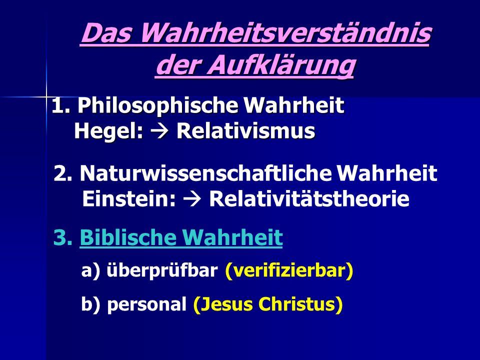 Das Wahrheitsverständnis der Aufklärung 1. Philosophische Wahrheit Hegel: Relativismus 1. Philosophische Wahrheit Hegel: Relativismus 2. Naturwissensc