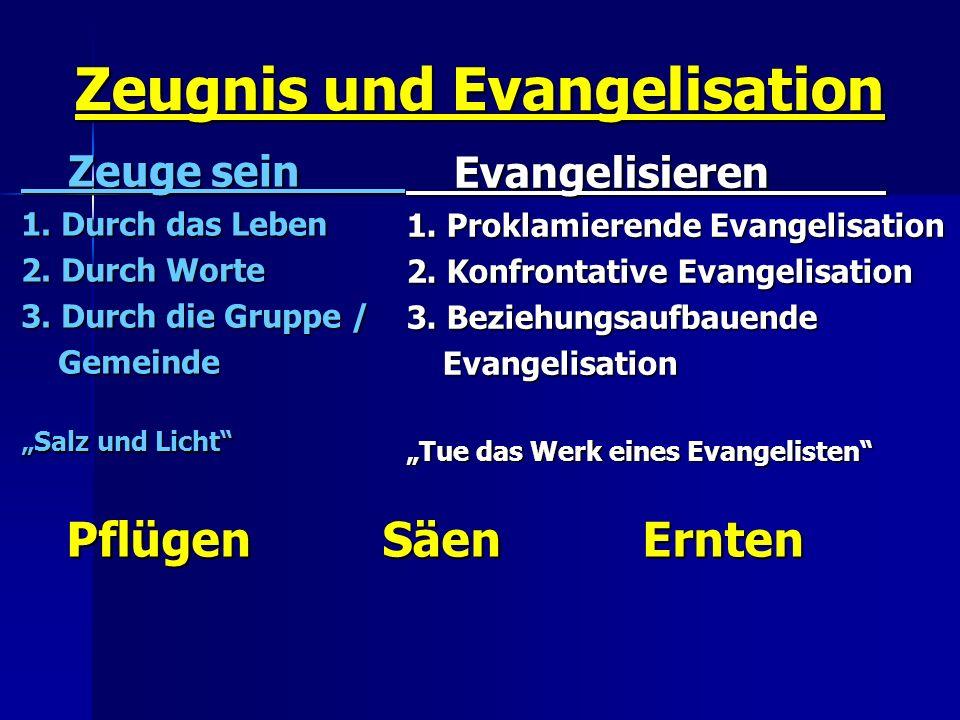 Zeugnis und Evangelisation Zeuge sein Zeuge sein 1. Durch das Leben 2. Durch Worte 3. Durch die Gruppe / Gemeinde Gemeinde Salz und Licht Evangelisier