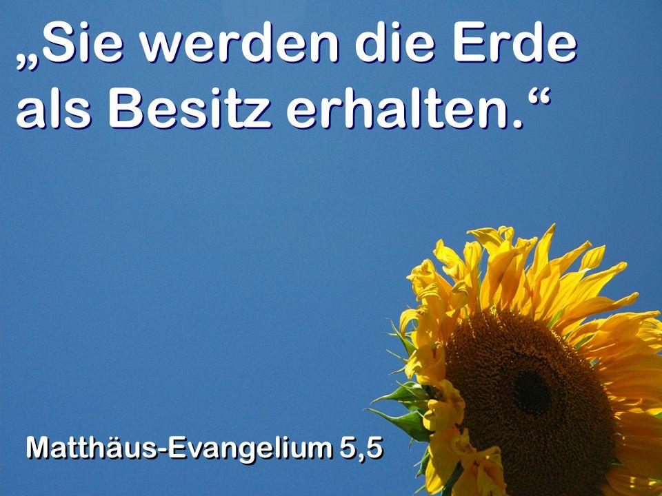 Sie werden die Erde als Besitz erhalten. Matthäus-Evangelium 5,5