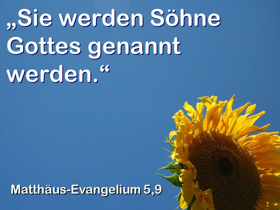Sie werden Söhne Gottes genannt werden. Matthäus-Evangelium 5,9