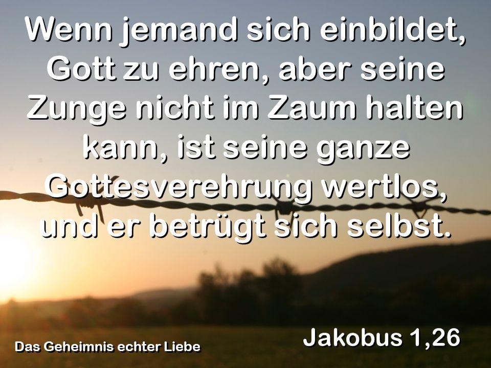 Das Geheimnis echter Liebe Jakobus 1,26 Wenn jemand sich einbildet, Gott zu ehren, aber seine Zunge nicht im Zaum halten kann, ist seine ganze Gottesv