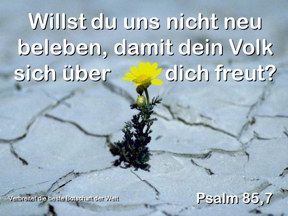 Willst du uns nicht neu beleben, damit dein Volk sich über dich freut? Psalm 85,7 Verbreitet die beste Botschaft der Welt