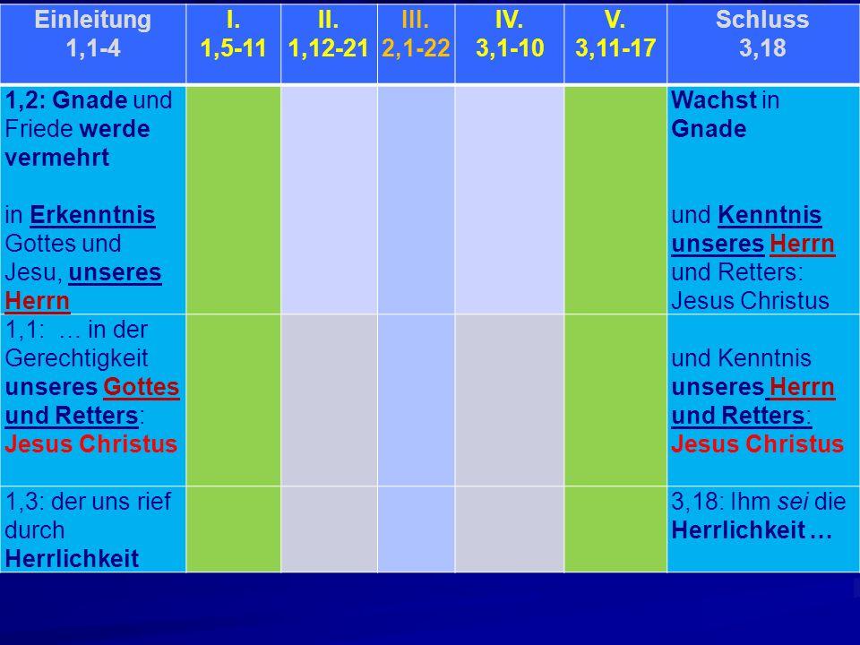 Einleitung 1,1-4 I. 1,5-11 II. 1,12-21 III. 2,1-22 IV. 3,1-10 V. 3,11-17 Schluss 3,18 1,2: Gnade und Friede werde vermehrt in Erkenntnis Gottes und Je