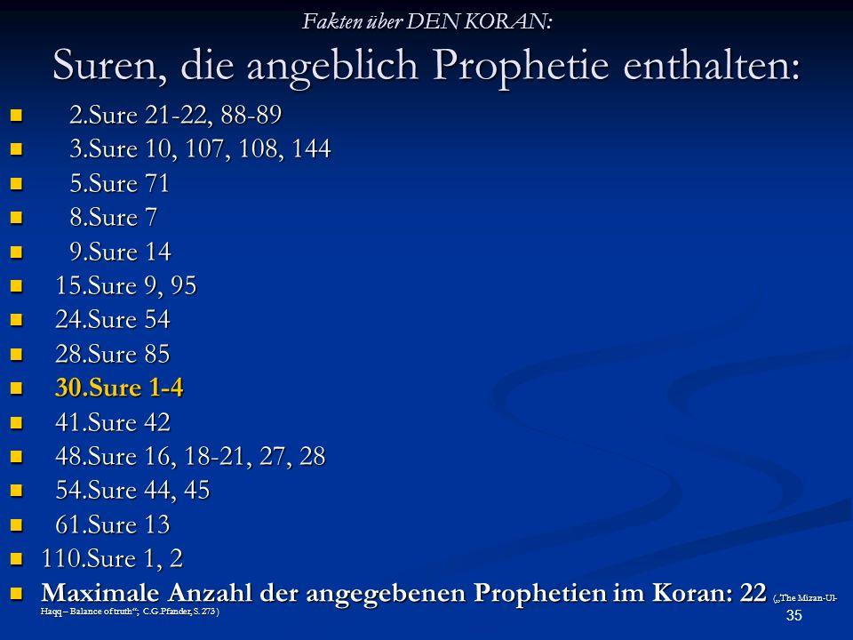35 Fakten über DEN KORAN: Suren, die angeblich Prophetie enthalten: 2.Sure 21-22, 88-89 2.Sure 21-22, 88-89 3.Sure 10, 107, 108, 144 3.Sure 10, 107, 1