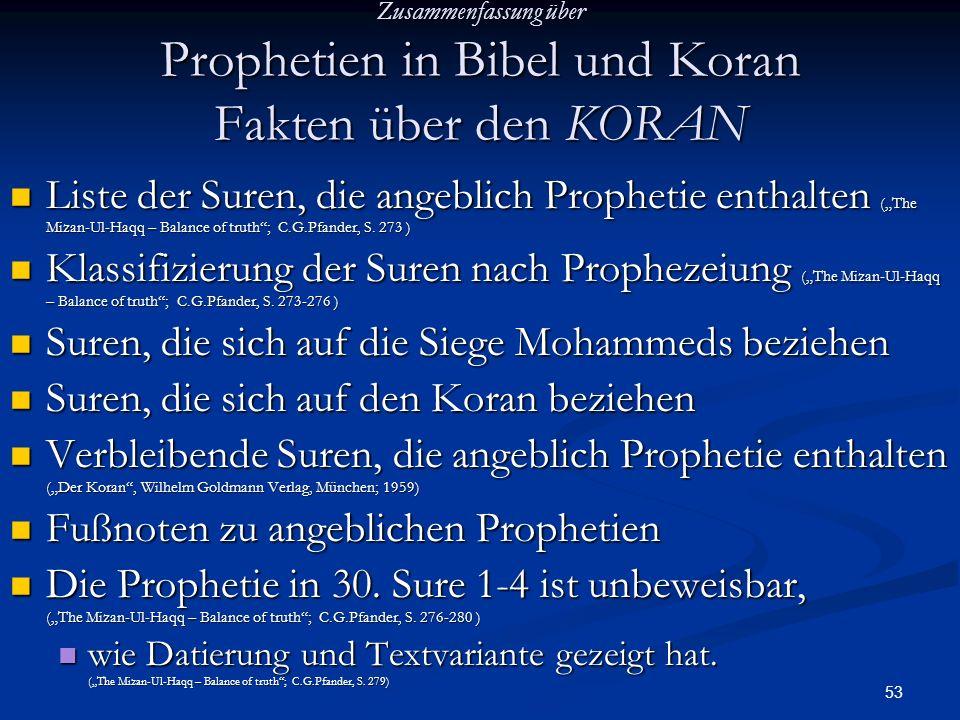53 Zusammenfassung über Prophetien in Bibel und Koran Fakten über den KORAN Liste der Suren, die angeblich Prophetie enthalten (The Mizan-Ul-Haqq – Ba