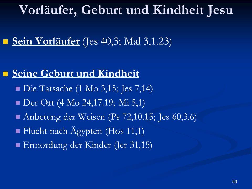 59 Vorläufer, Geburt und Kindheit Jesu Sein Vorläufer (Jes 40,3; Mal 3,1.23) Seine Geburt und Kindheit Die Tatsache (1 Mo 3,15; Jes 7,14) Der Ort (4 M