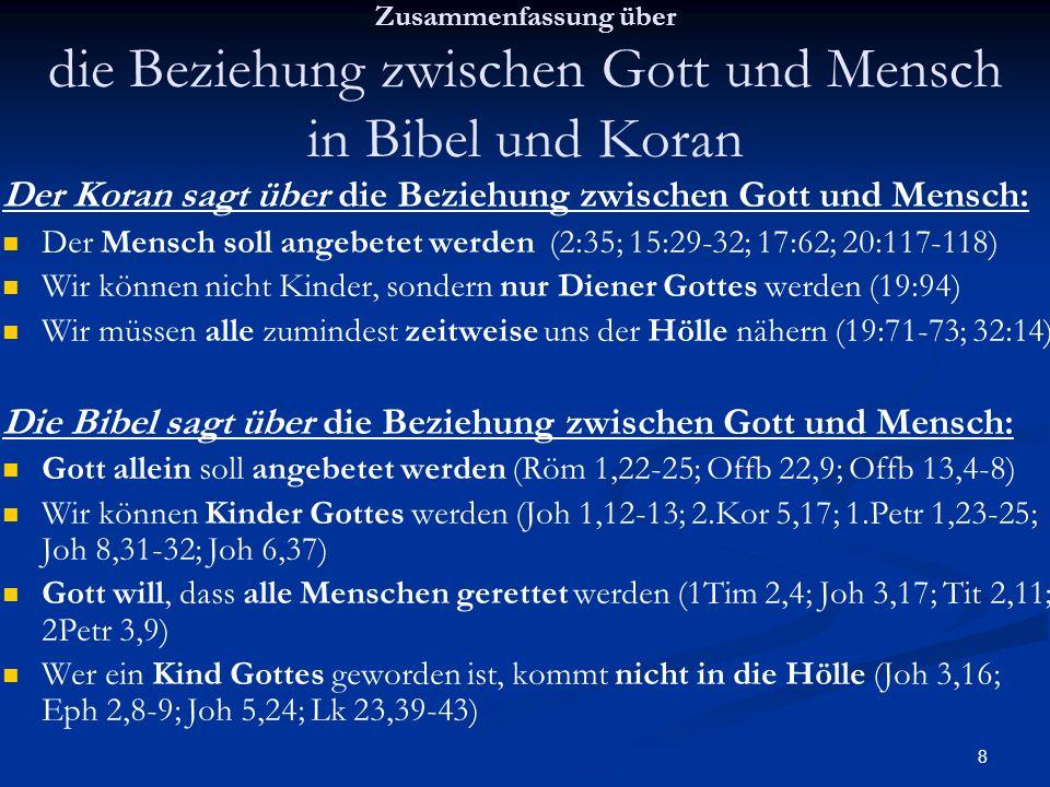 9 Zusammenfassung über Sünde in Bibel und Koran Der Koran sagt über Sünde: Satan verführte, vom Baum des Lebens zu essen (20:117-122) Es gibt eine doppelte Moral (4:4; 33:38-39.51-52) Die Bibel sagt über Sünde: Satan verführte, vom Baum des Erkenntnis des Guten und Bösen zu essen (1Mo 2,9.16-17:; 1Mo 3,1-6) während es gut ist, vom Baum des Lebens zu essen (1.Mo 3,22-23; Röm 2,6-8) und jeder wiedergeborene Christ ewiges Leben bekommt (Joh 3,16; 1.Petr 1,3-4) Es gibt keine doppelte Moral (1.Petr 1,17; Eph 6,9; Röm 2,11; Mt 20,27-28)