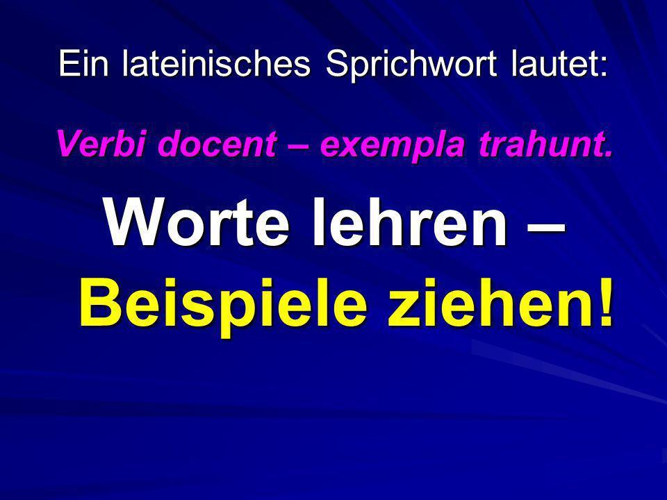 Ein lateinisches Sprichwort lautet: Verbi docent – exempla trahunt. Worte lehren – Beispiele ziehen!