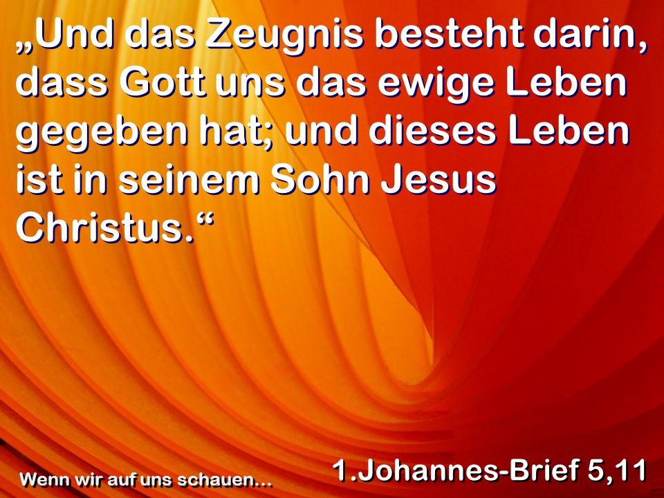Und das Zeugnis besteht darin, dass Gott uns das ewige Leben gegeben hat; und dieses Leben ist in seinem Sohn Jesus Christus. 1.Johannes-Brief 5,11 We