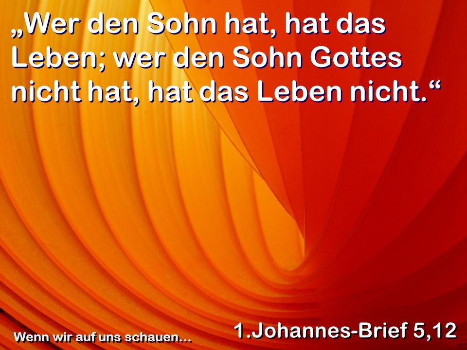 Wer den Sohn hat, hat das Leben; wer den Sohn Gottes nicht hat, hat das Leben nicht. 1.Johannes-Brief 5,12 Wenn wir auf uns schauen…