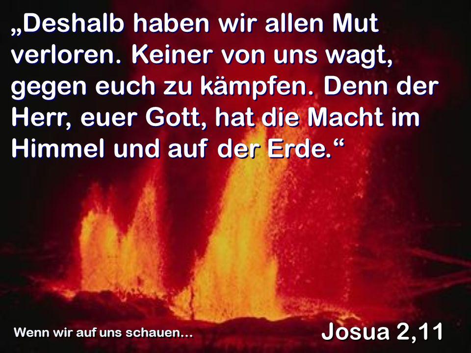Deshalb haben wir allen Mut verloren. Keiner von uns wagt, gegen euch zu kämpfen. Denn der Herr, euer Gott, hat die Macht im Himmel und auf der Erde.