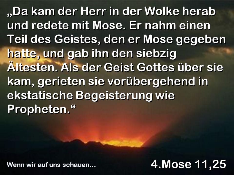 Da kam der Herr in der Wolke herab und redete mit Mose. Er nahm einen Teil des Geistes, den er Mose gegeben hatte, und gab ihn den siebzig Ältesten. A