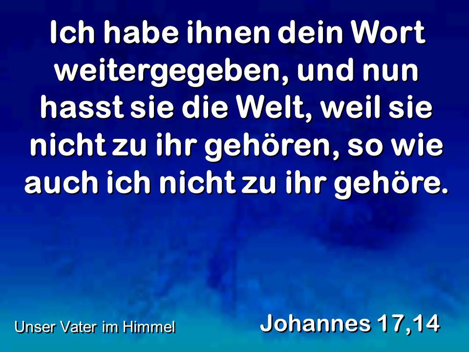 Ich habe ihnen dein Wort weitergegeben, und nun hasst sie die Welt, weil sie nicht zu ihr gehören, so wie auch ich nicht zu ihr gehöre. Johannes 17,14