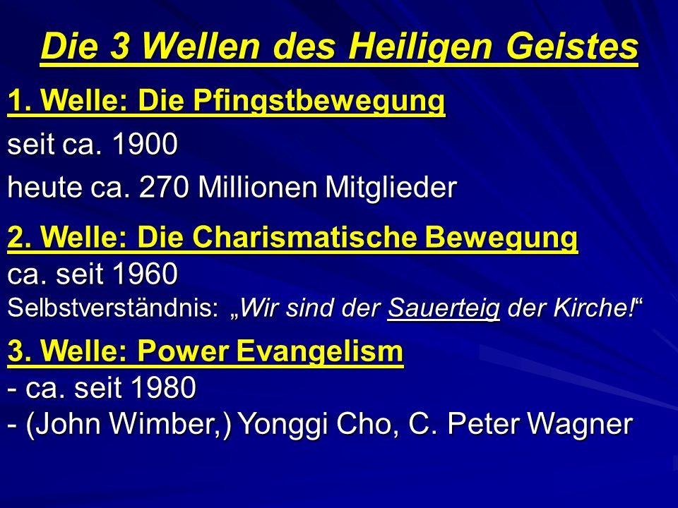 Die 3 Wellen des Heiligen Geistes 1. Welle: Die Pfingstbewegung seit ca. 1900 heute ca. 270 Millionen Mitglieder 2. Welle: Die Charismatische Bewegung