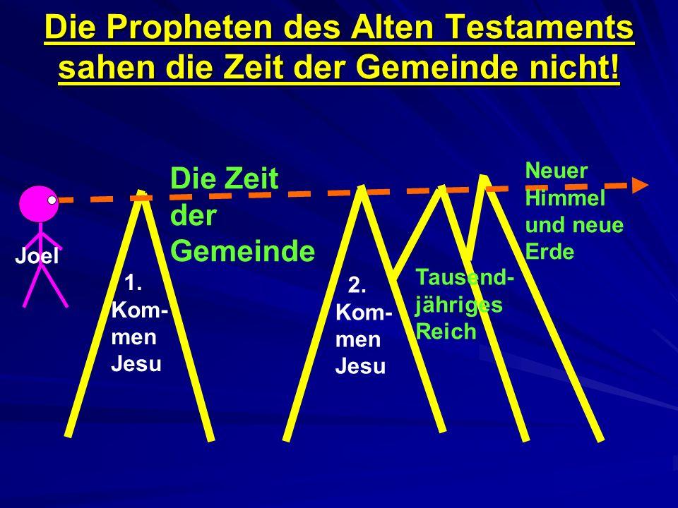 Die Propheten des Alten Testaments sahen die Zeit der Gemeinde nicht! Die Zeit der Gemeinde 2. Kom- men Jesu Neuer Himmel und neue Erde Tausend- jähri