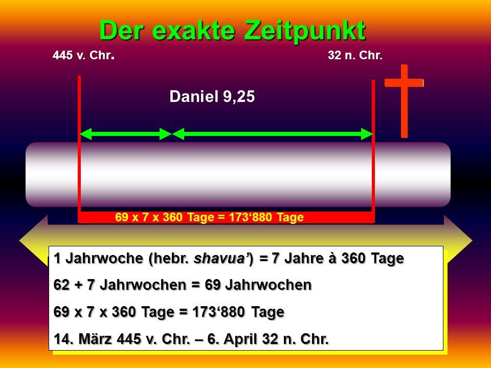 Der exakte Zeitpunkt 1 Jahrwoche (hebr. shavua) = 7 Jahre à 360 Tage 62 + 7 Jahrwochen = 69 Jahrwochen 69 x 7 x 360 Tage = 173880 Tage 14. März 445 v.