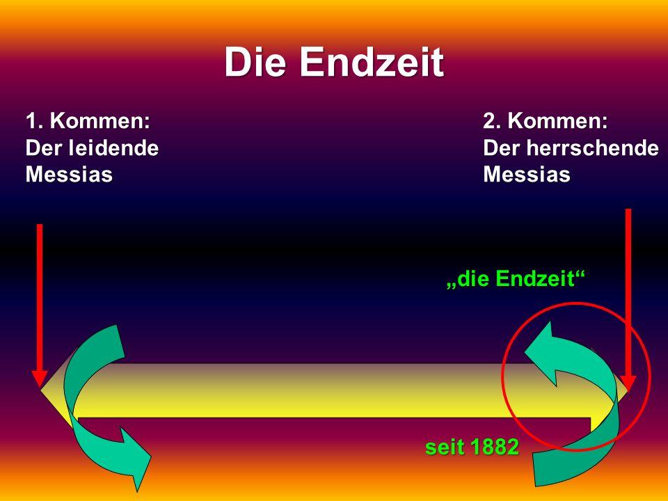 1. Kommen: Der leidende Messias. Kommen: 2. Kommen: Der herrschende Messias Die Endzeit die Endzeit seit 1882