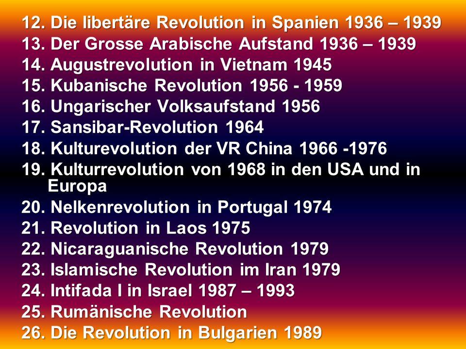 12. Die libertäre Revolution in Spanien 1936 – 1939 13. Der Grosse Arabische Aufstand 1936 – 1939 14. Augustrevolution in Vietnam 1945 15. Kubanische