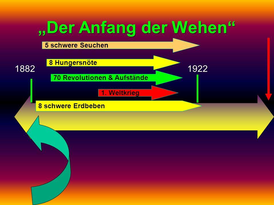 Der Anfang der Wehen 18821922 1. Weltkrieg 70 Revolutionen & Aufstände 8 Hungersnöte 5 schwere Seuchen 8 schwere Erdbeben
