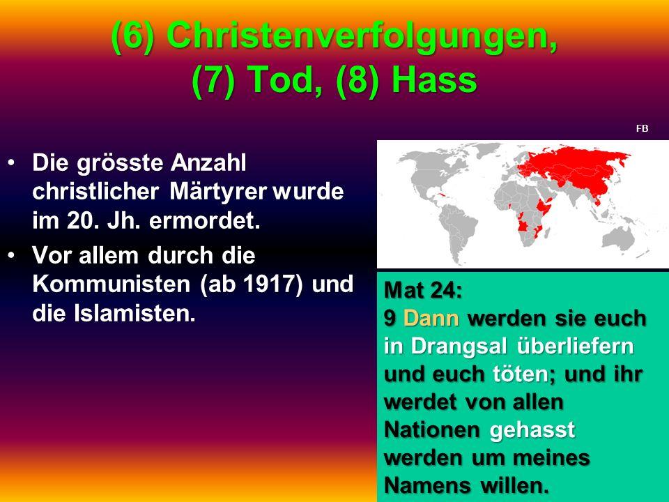 (6) Christenverfolgungen, (7) Tod, (8) Hass Die grösste Anzahl christlicher Märtyrer wurde im 20. Jh. ermordet.Die grösste Anzahl christlicher Märtyre