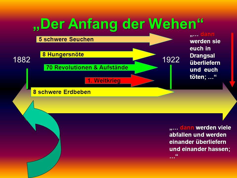 Der Anfang der Wehen 18821922 1. Weltkrieg 70 Revolutionen & Aufstände 8 Hungersnöte 5 schwere Seuchen 8 schwere Erdbeben … dann werden sie euch in Dr