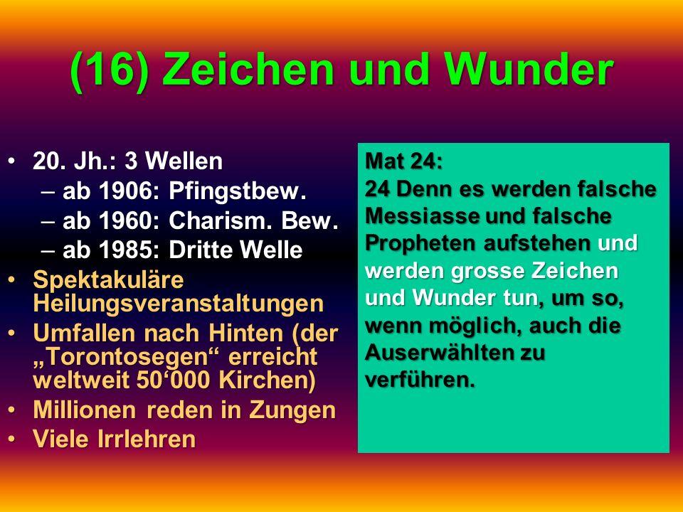 (16) Zeichen und Wunder 20. Jh.: 3 Wellen20. Jh.: 3 Wellen –ab 1906: Pfingstbew. –ab 1960: Charism. Bew. –ab 1985: Dritte Welle Spektakuläre Heilungsv