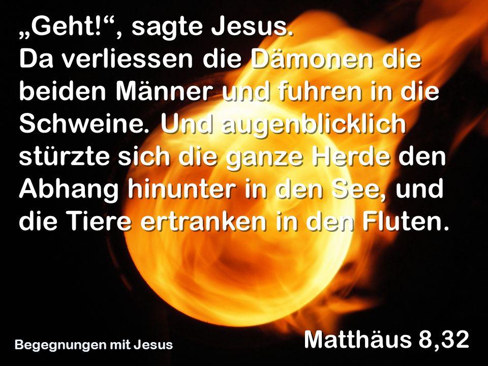 Geht!, sagte Jesus. Da verliessen die Dämonen die beiden Männer und fuhren in die Schweine. Und augenblicklich stürzte sich die ganze Herde den Abhang