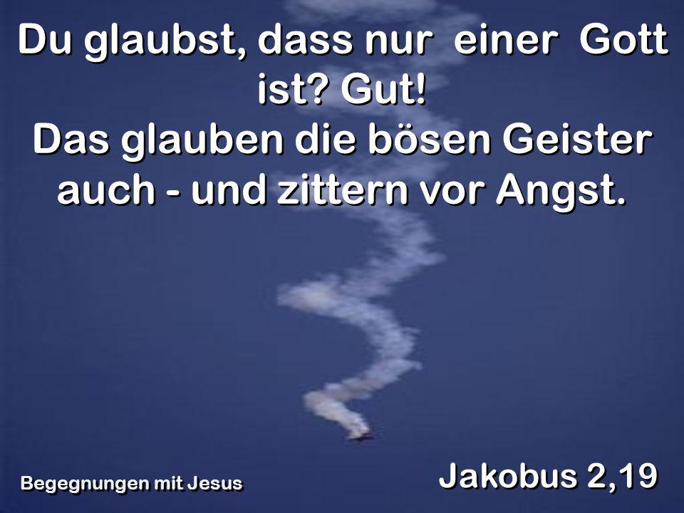 Du glaubst, dass nur einer Gott ist? Gut! Das glauben die bösen Geister auch - und zittern vor Angst. Jakobus 2,19 Begegnungen mit Jesus