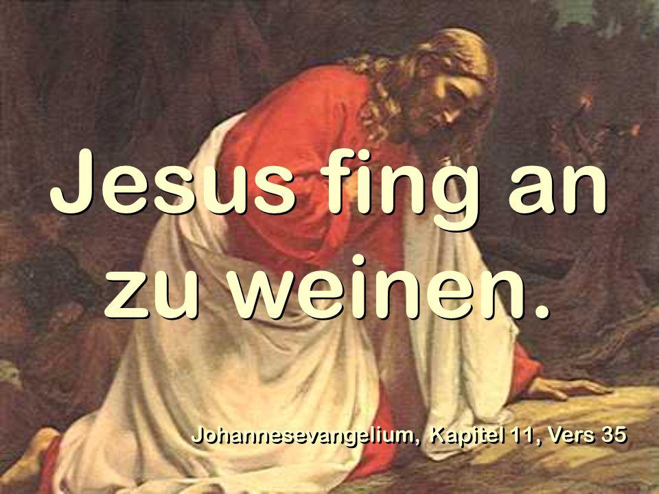 Jesus fing an zu weinen. Johannesevangelium, Kapitel 11, Vers 35