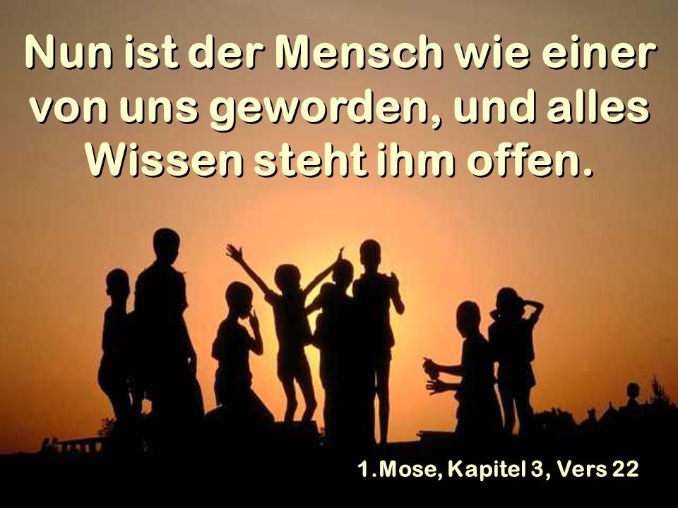 Nun ist der Mensch wie einer von uns geworden, und alles Wissen steht ihm offen. 1.Mose, Kapitel 3, Vers 22