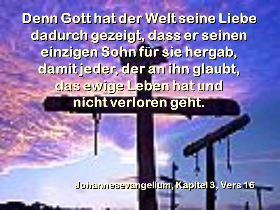 Denn Gott hat der Welt seine Liebe dadurch gezeigt, dass er seinen einzigen Sohn für sie hergab, damit jeder, der an ihn glaubt, das ewige Leben hat u