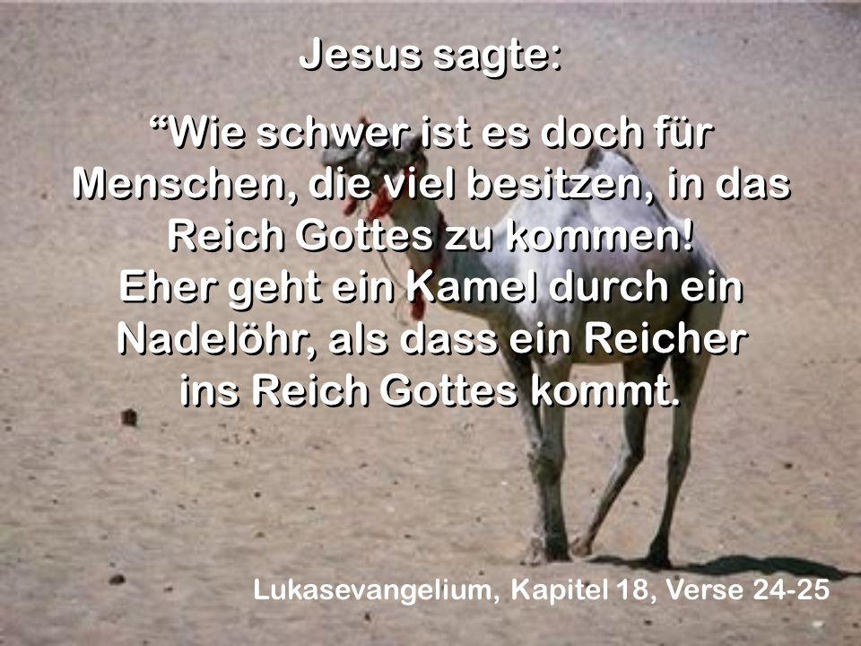Jesus sagte: Wie schwer ist es doch für Menschen, die viel besitzen, in das Reich Gottes zu kommen! Eher geht ein Kamel durch ein Nadelöhr, als dass e