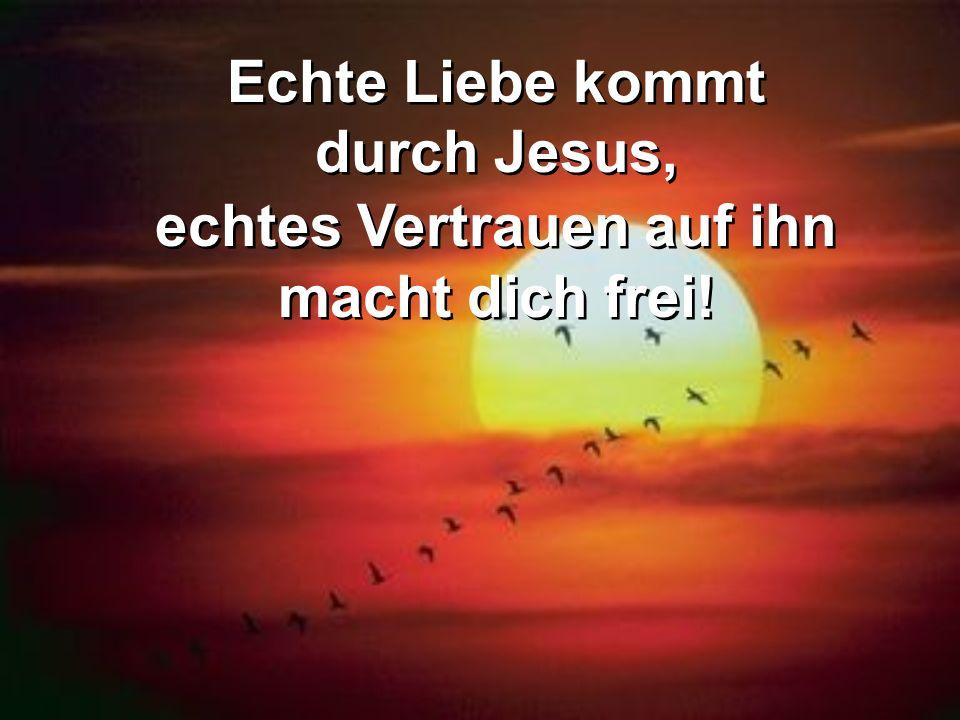 Echte Liebe kommt durch Jesus, echtes Vertrauen auf ihn macht dich frei! Echte Liebe kommt durch Jesus, echtes Vertrauen auf ihn macht dich frei!