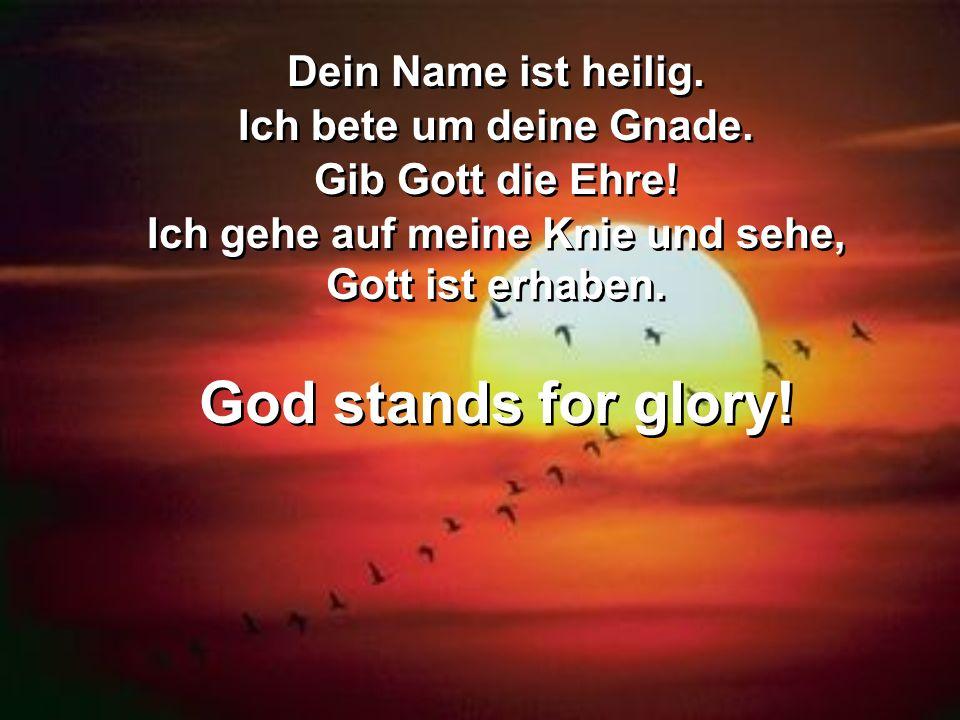 Dein Name ist heilig. Ich bete um deine Gnade. Gib Gott die Ehre! Ich gehe auf meine Knie und sehe, Gott ist erhaben. God stands for glory! Dein Name