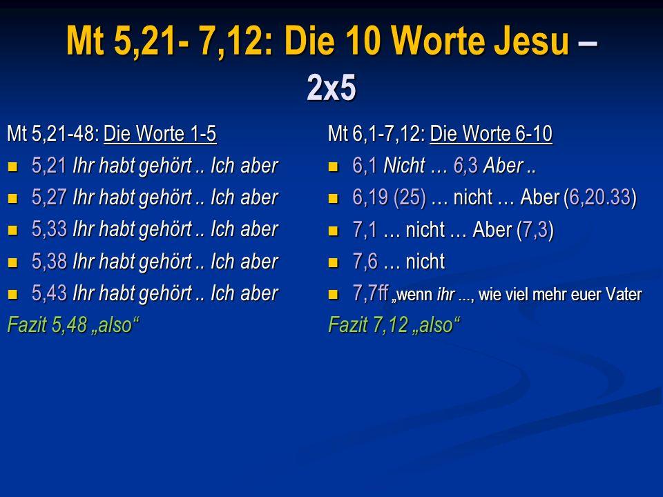 5,21-48: Die Worte 1-5 5,21-26 Verhalten zum Bruder 5,21-26 Verhalten zum Bruder 5,27-32 Verhalten zur Frau [ 5,27-32 Verhalten zur Frau [ rechtes Auge, Hand ] 5,33-37 Wahrhaftigkeit im Reden.