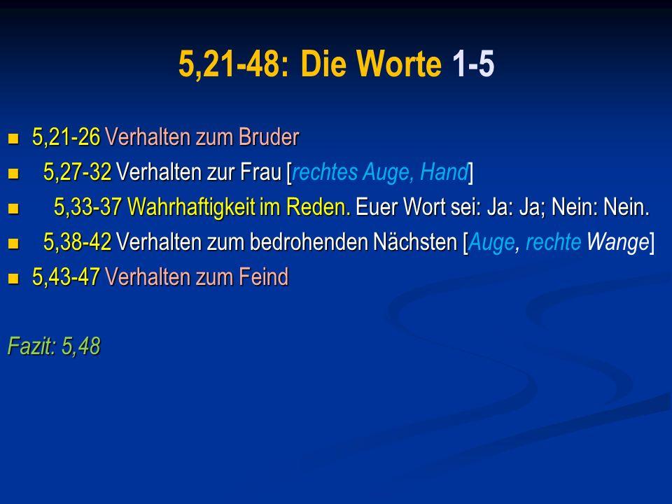 A.Vorwort: Mt 5,3-18 1. Selige 5,3-13 2. Salz und Licht 5,14-16 3.