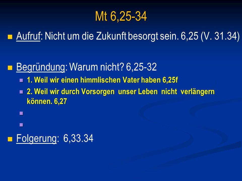 Mt 6,25-34 Aufruf: Nicht um die Zukunft besorgt sein.