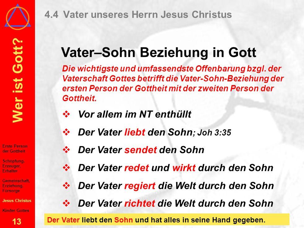 Wer ist Gott? 12 4Gott, der Vater 4.1Die erste Person der Gottheit 4.2Vaterschaft über die Schöpfung als Erzeuger und Erhalter 4.3Vaterschaft durch en