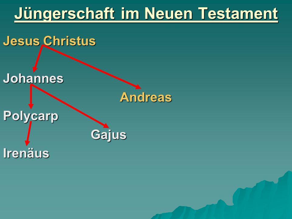 Jüngerschaft im Neuen Testament Jesus Christus JohannesAndreasPolycarpGajusIrenäus
